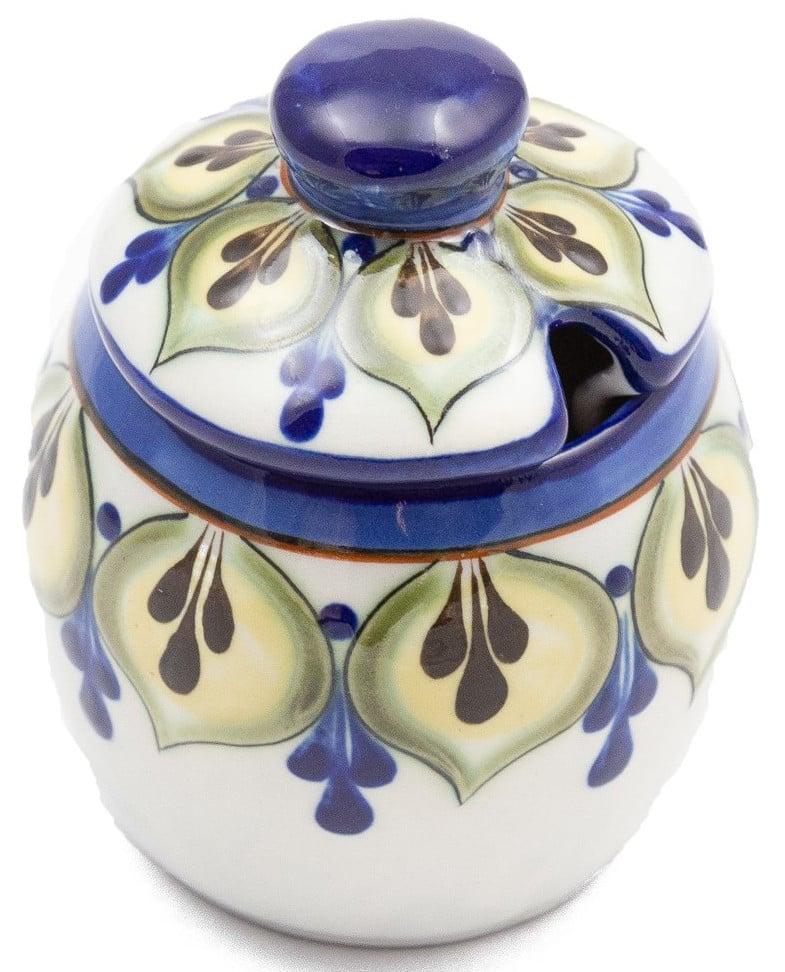 Hand-Painted Stoneware Honey Pot / Sugar Bowl