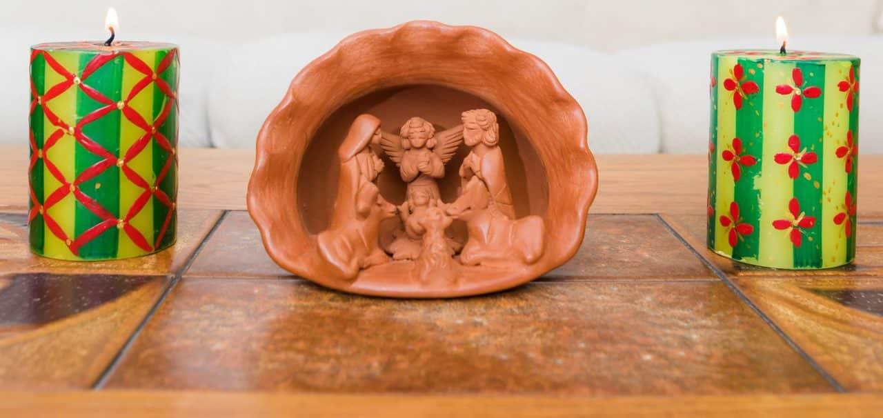 Large Terracotta Shell Nativity Scene