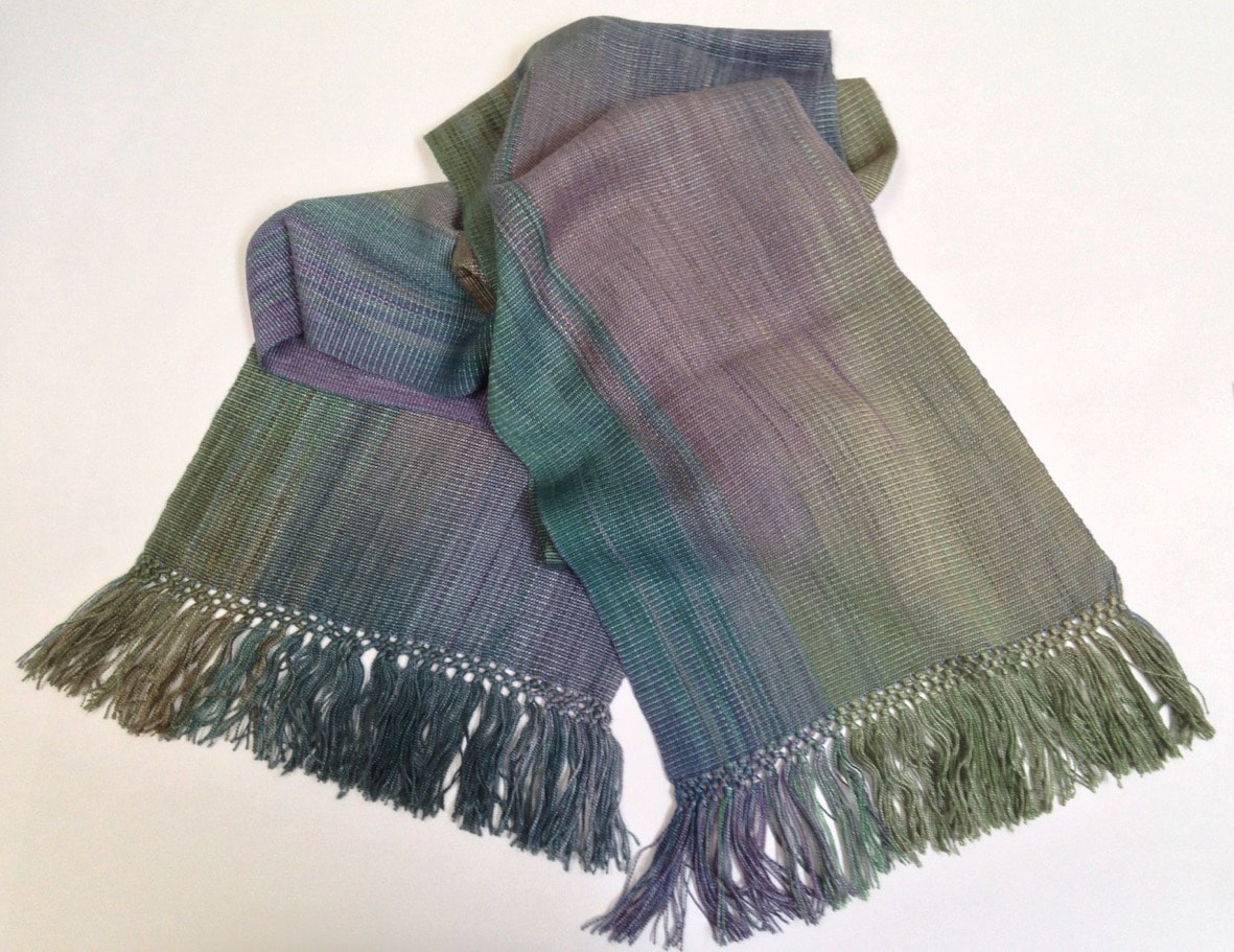 Green, Purple, Blue - Medium Tones - Lightweight Bamboo Handwoven Scarf 8 x 68