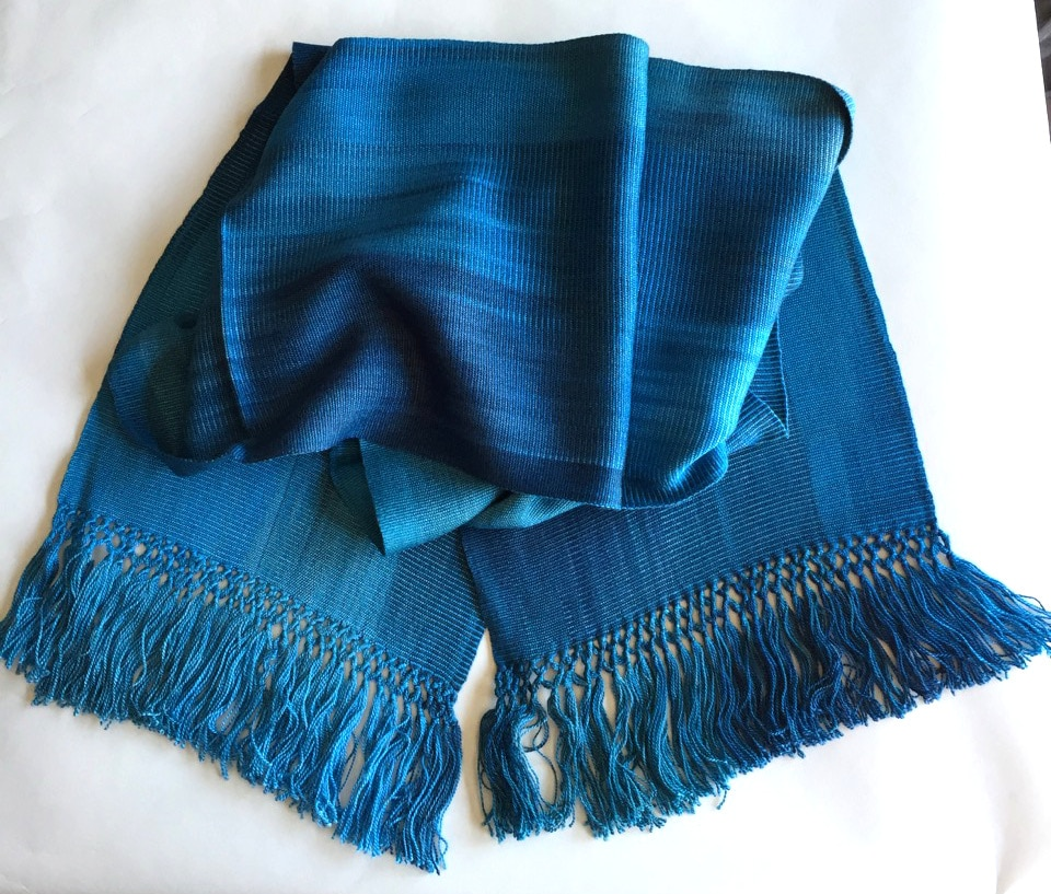 Blues - Lightweight Bamboo Handwoven Scarf 8 x 68