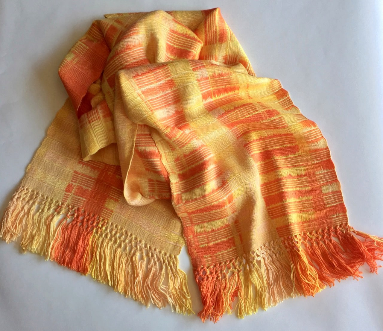 Orange, Peach, Yellow - Lightweight Bamboo Open-Weave Handwoven Scarf, 8
