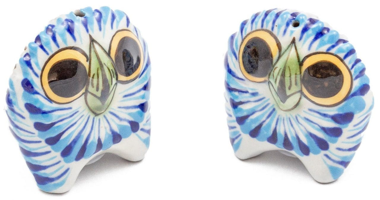 Hand-Painted Stoneware Owl Salt and Pepper Set
