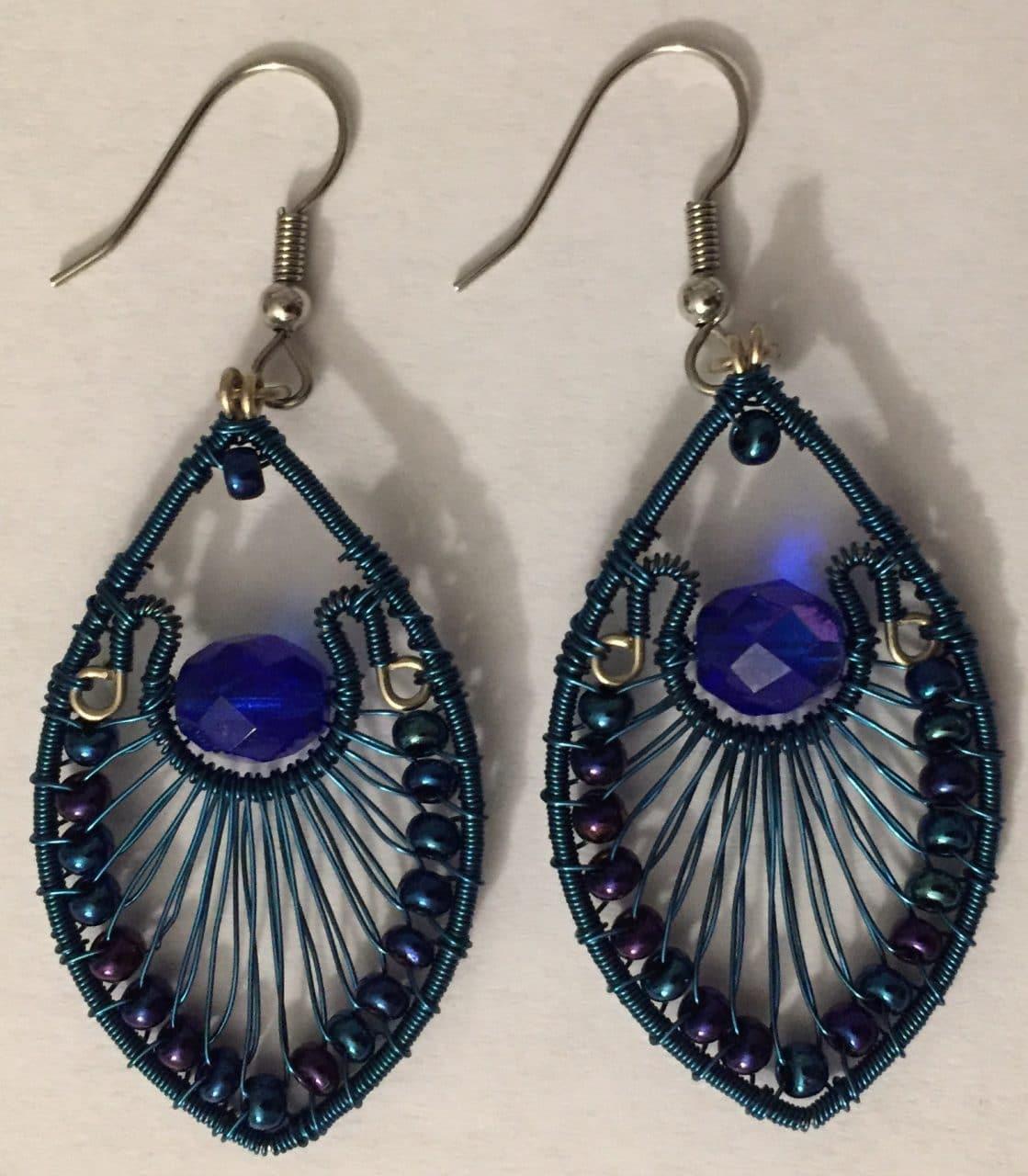Peacock Earrings - Blue