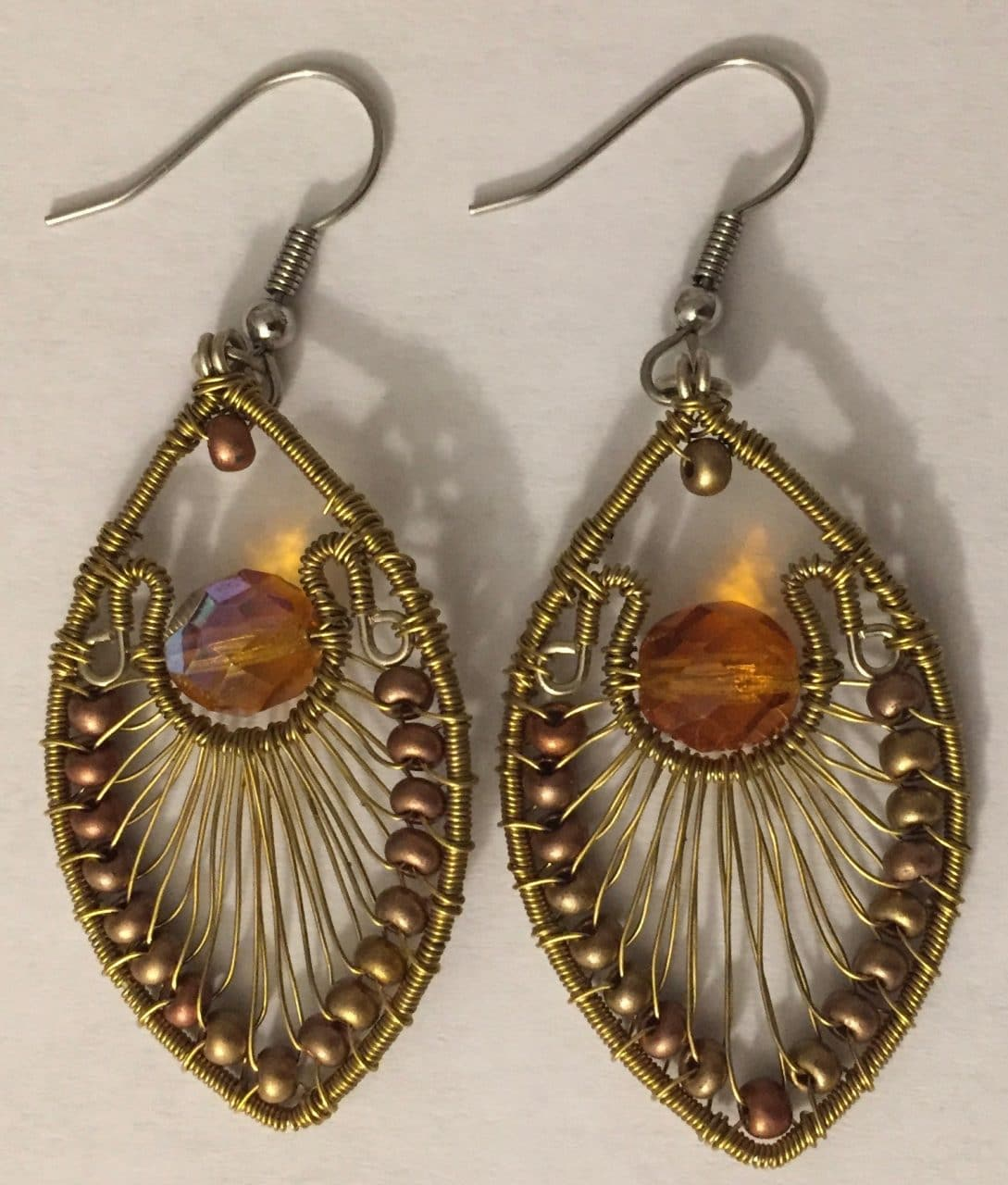 Peacock Earrings - Gold