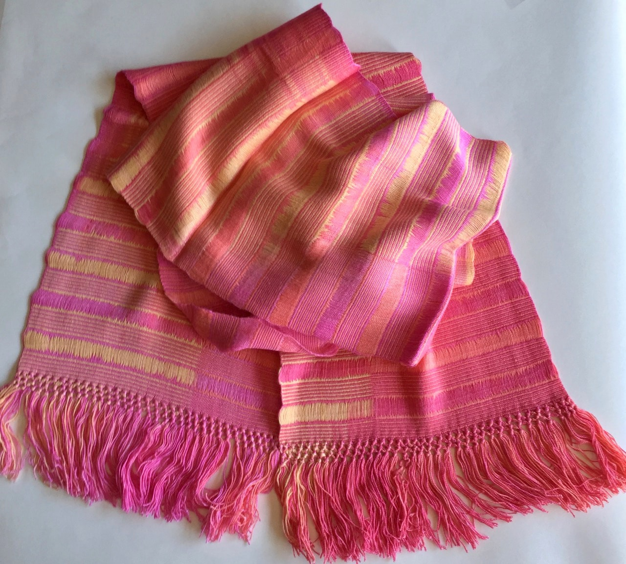 Pink, Yellow - Lightweight Bamboo Open-Weave Handwoven Scarf 8