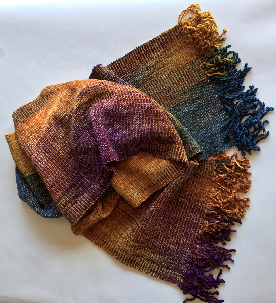 Purple, Apricot, Blue - Bamboo Chenille Scarf - Space-Dyed 8