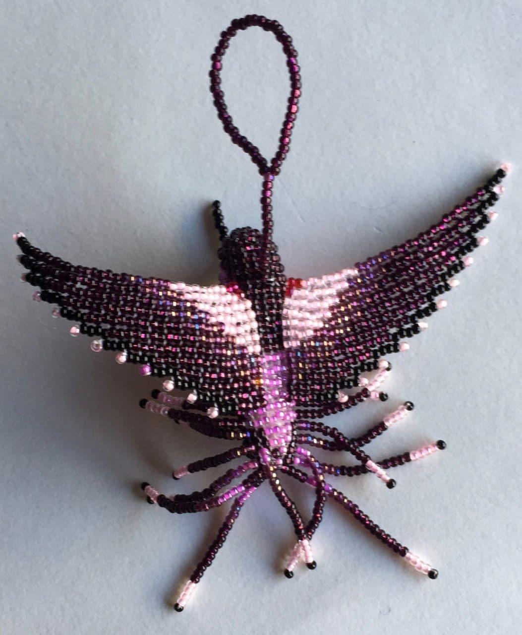 Hummingbird Beaded Ornament - Purple