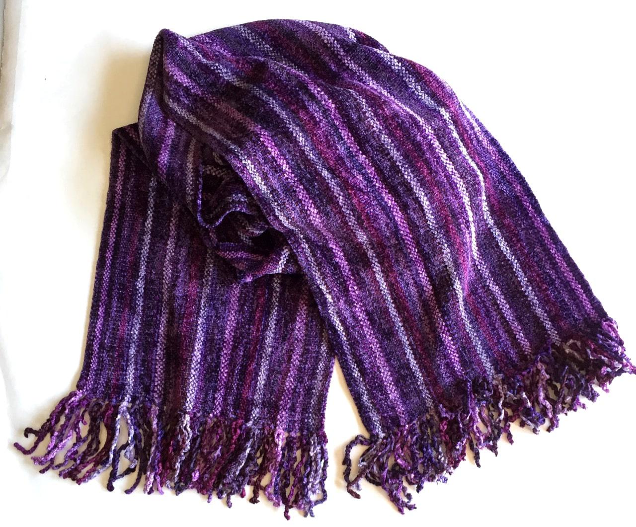 Purple Micro Stripes - Bamboo Chenille Handwoven Scarf 8 x 68