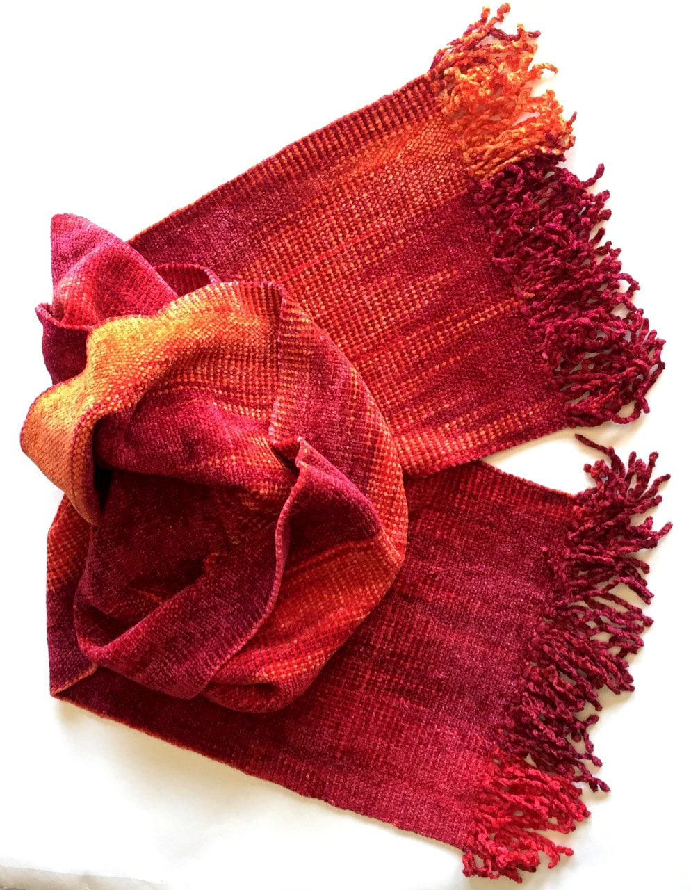 Red, Orange - Bamboo Chenille Handwoven Scarf 8