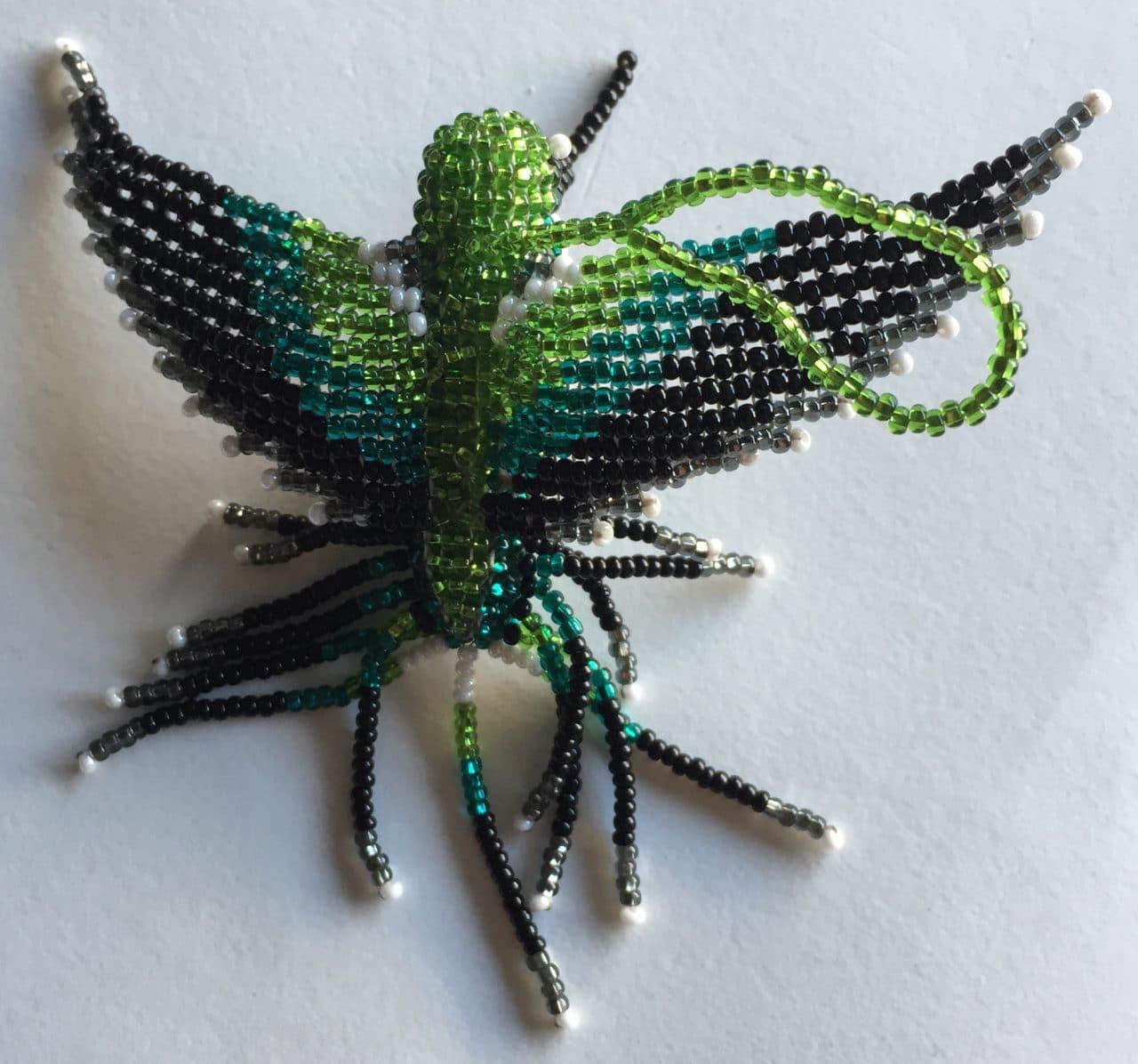 Hummingbird Beaded Ornament - Ruby-Throated