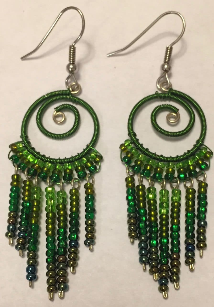 Spiral Fringe Earrings - Greens