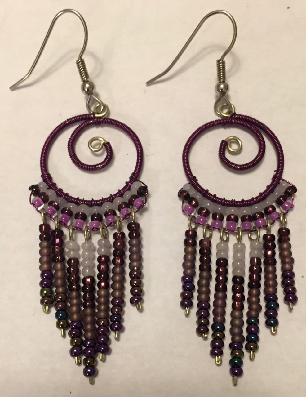 Spiral Fringe Earrings - Purples