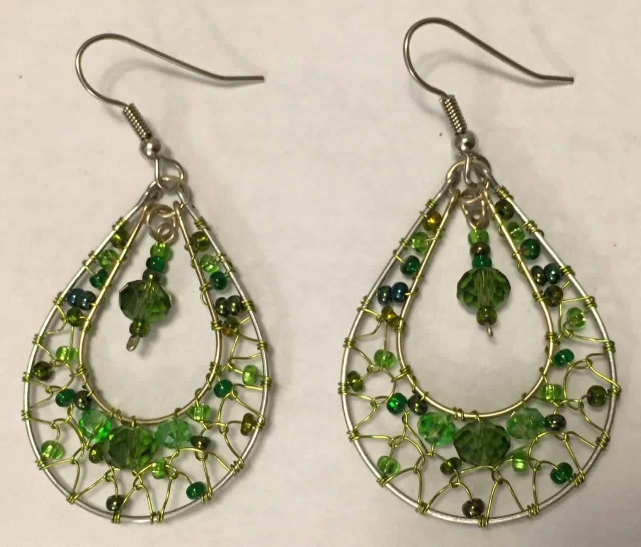 Teardrop Dreamcatcher Earrings - Greens