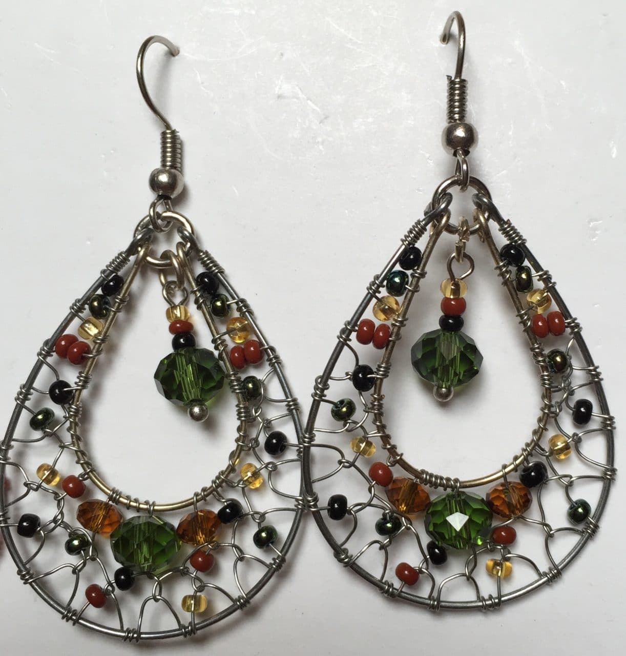 Teardrop Dreamcatcher Earrings - Sophisticated Autumn