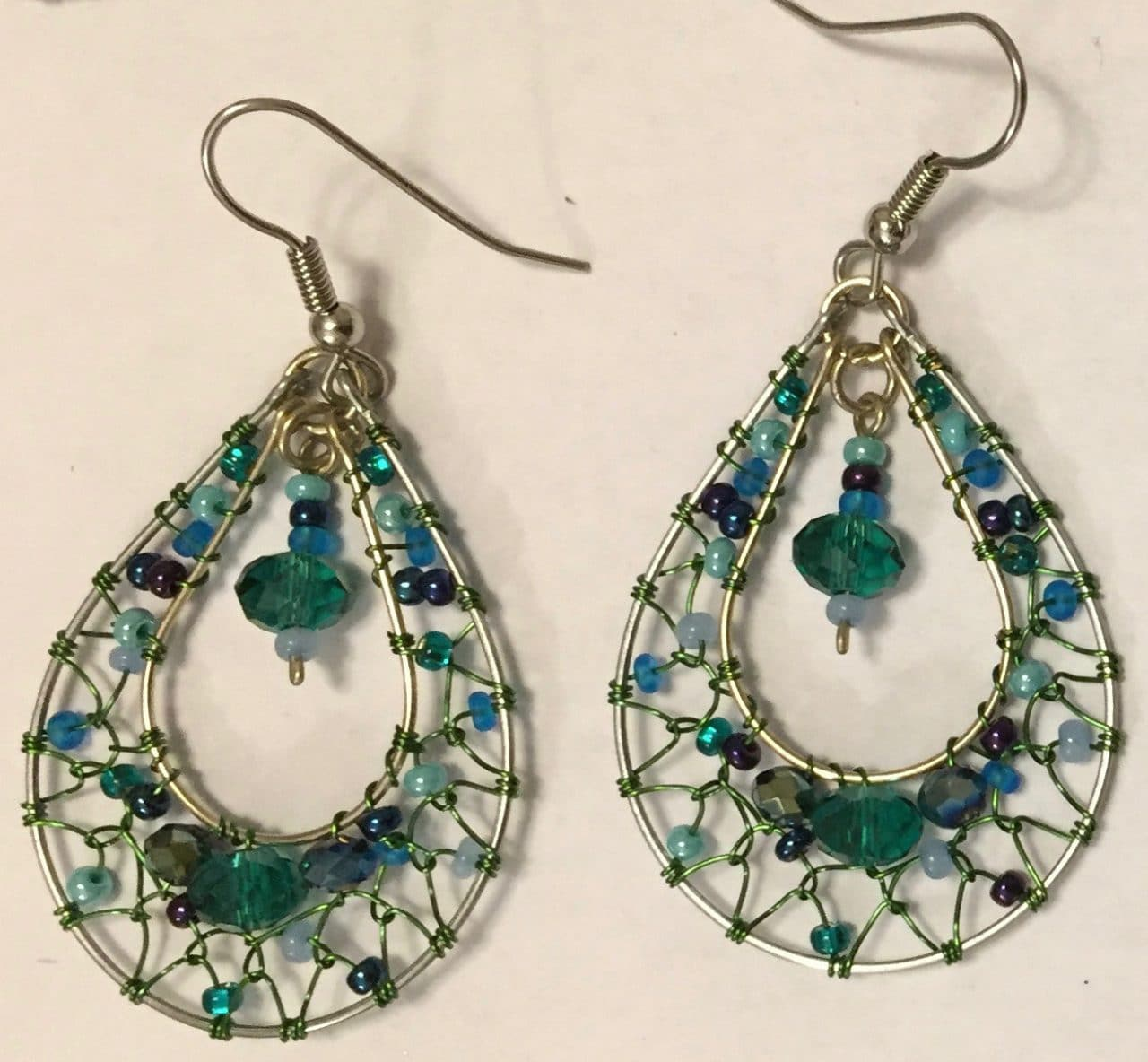 Teardrop Dreamcatcher Earrings - Teal and Blue