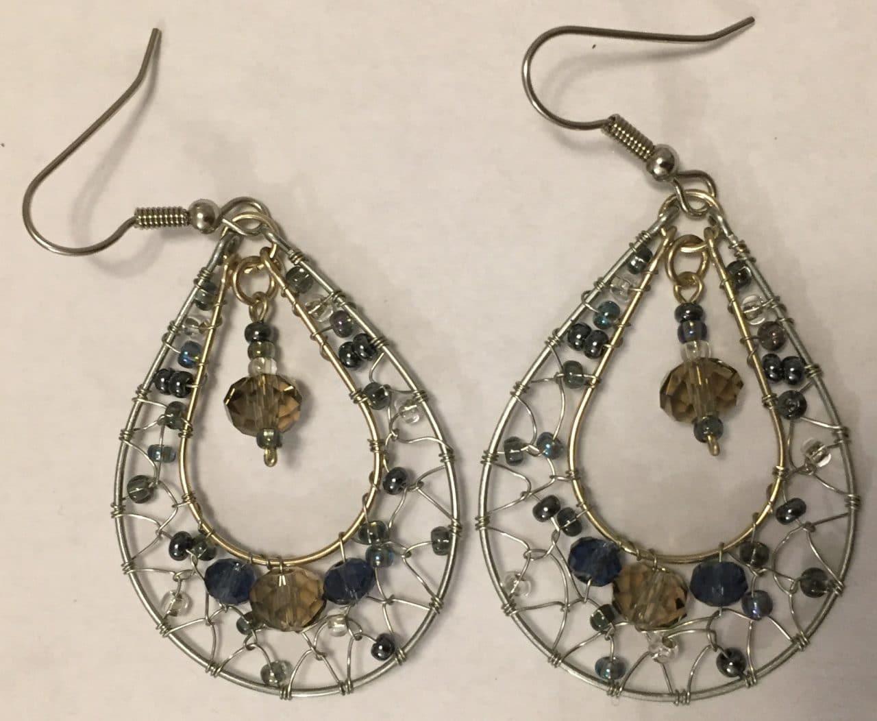 Teardrop Dreamcathcer Earrings - Grays