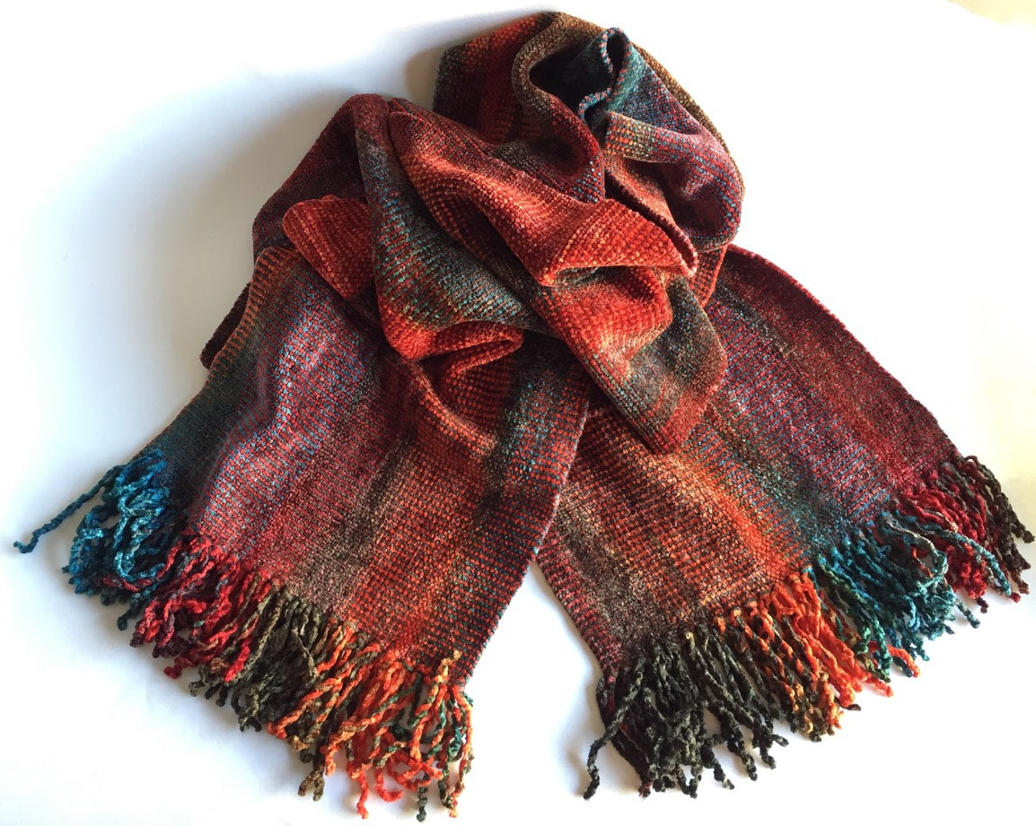 Turquoise, Coral - Bamboo Chenille Handwoven Scarf 8 x 68