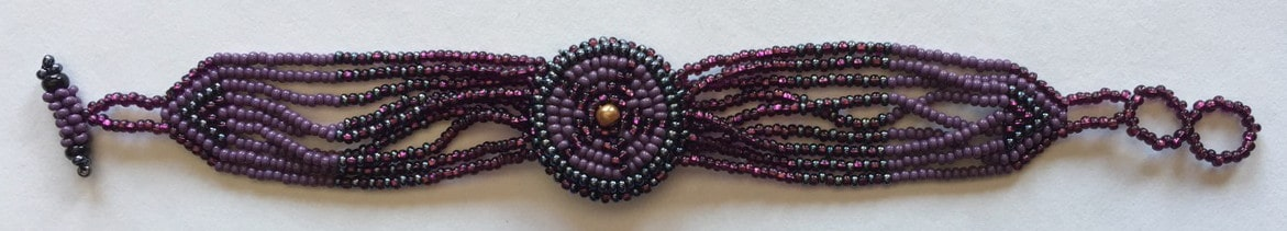 Watch Beaded Bracelet - Purples
