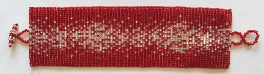 Wide Galaxy Flat Beaded Bracelet - Red, White