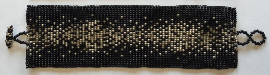 Wide Galaxy Flat Beaded Bracelet - Silver, Black, Cream