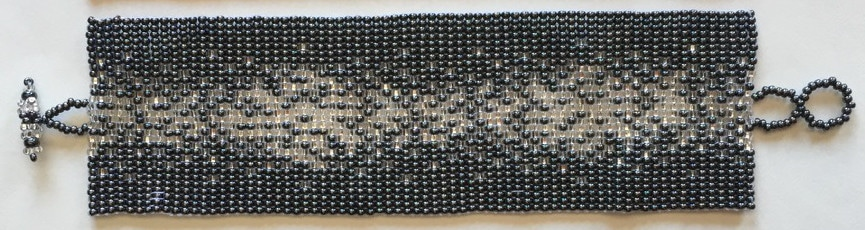 Wide Galaxy Flat Beaded Bracelet - Silver, Grays, White