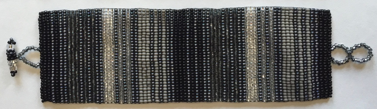 Wide Woven Stripes Beaded Bracelet - Black, White and Gray
