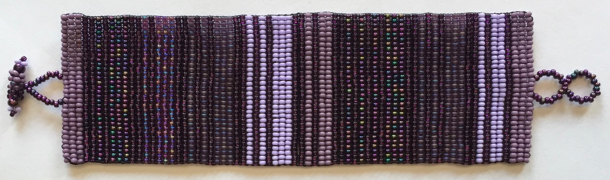Wide Woven Stripes Beaded Bracelet - Purples