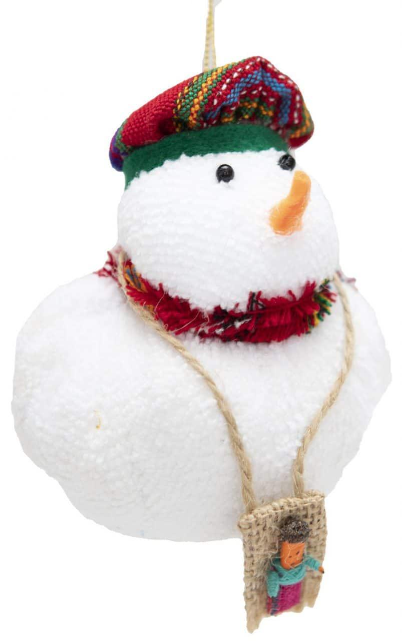 Guatemalan Snowman Ornament