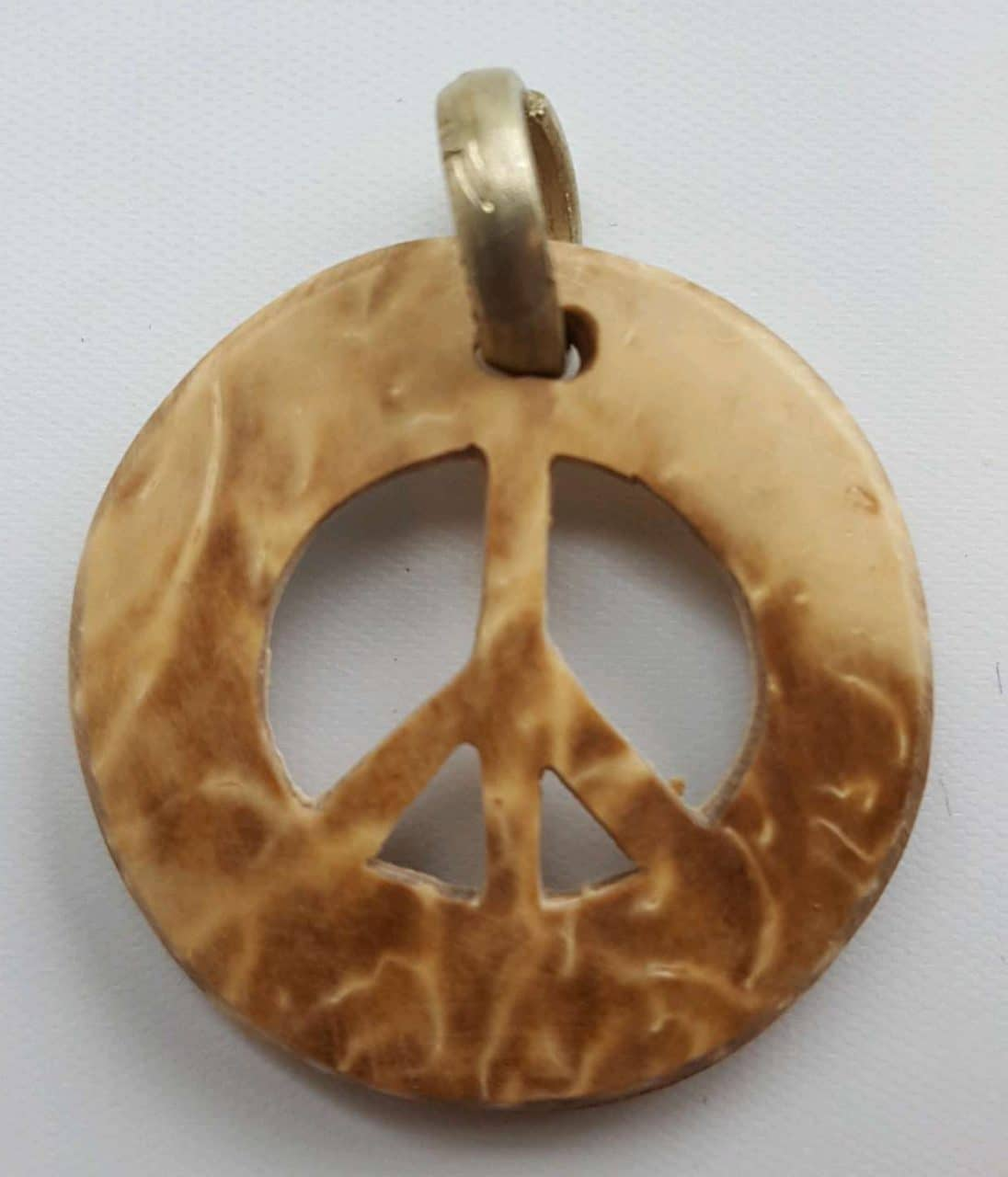 Peace Sign Coco Spirit Hand-Carved Coconut Shell Necklace