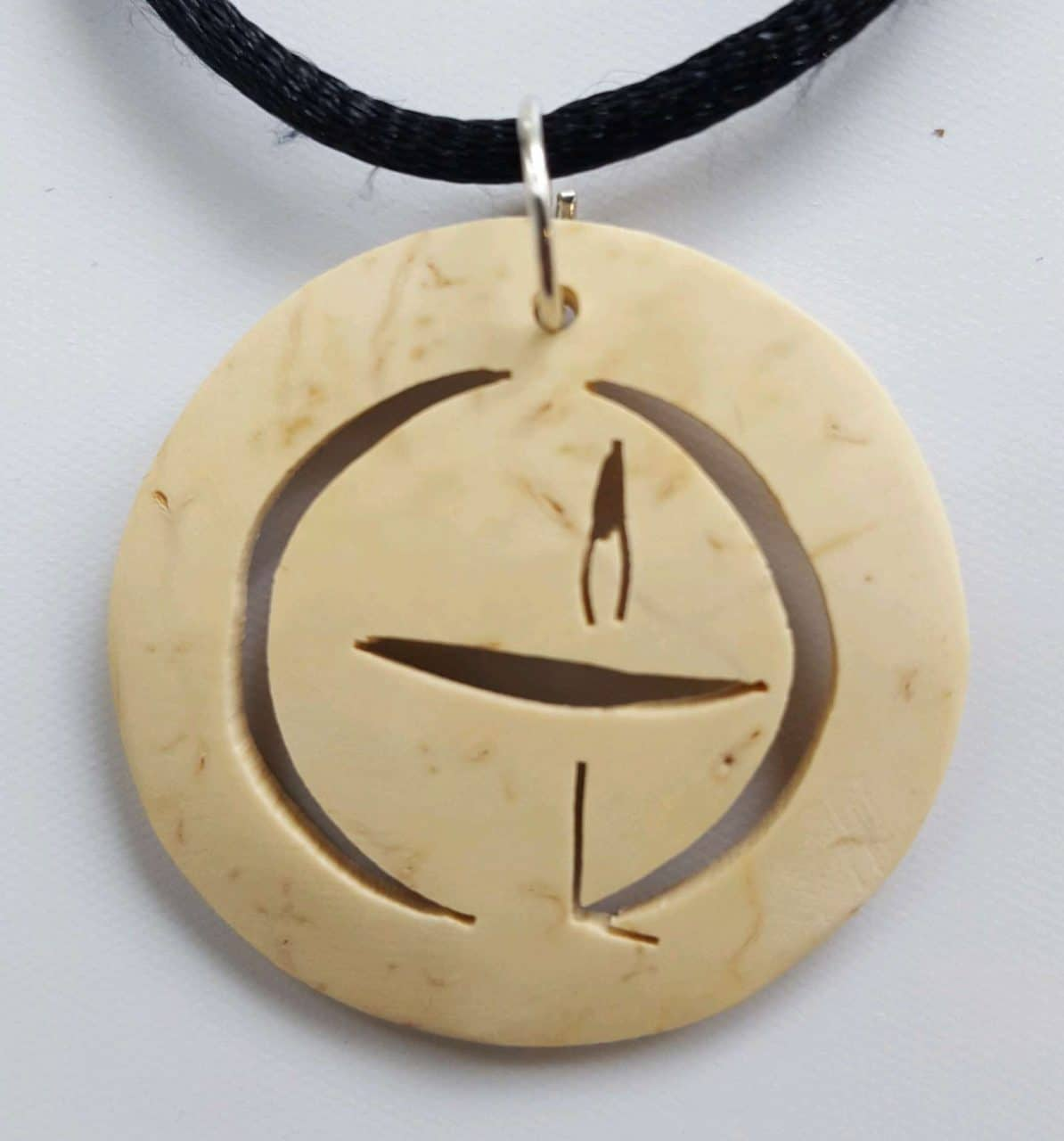 Unitarian Universalist Chalice Coco Spirit Hand-Carved Coconut Shell Necklace