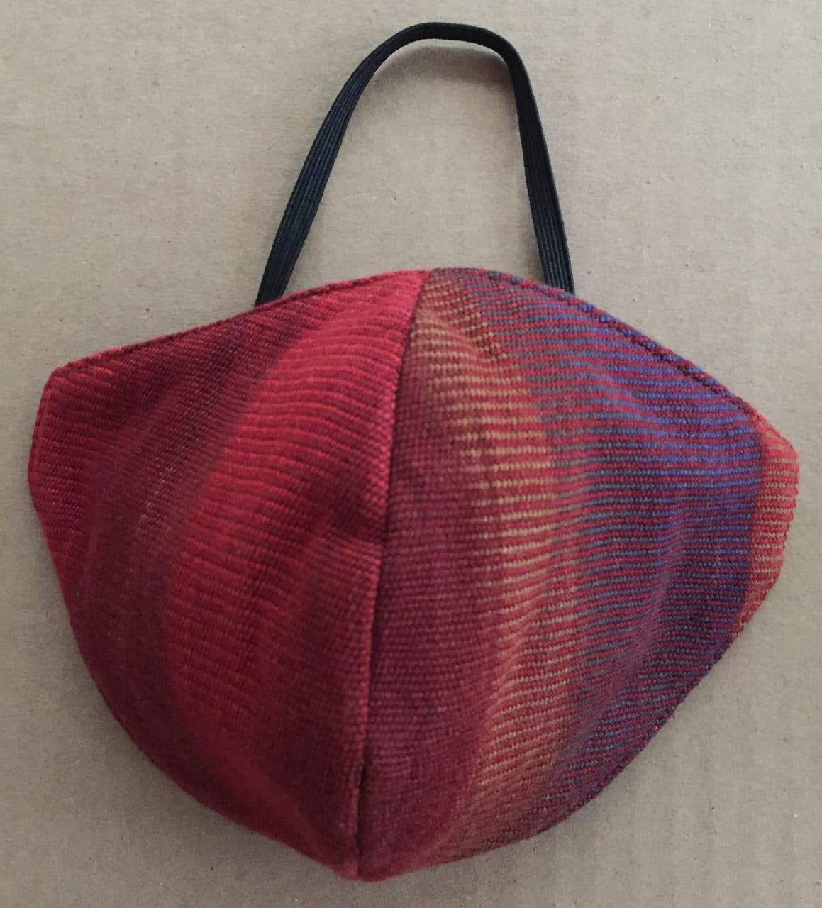 Red, Blue, Light Coffee - Handwoven Lightweight Bamboo Mask