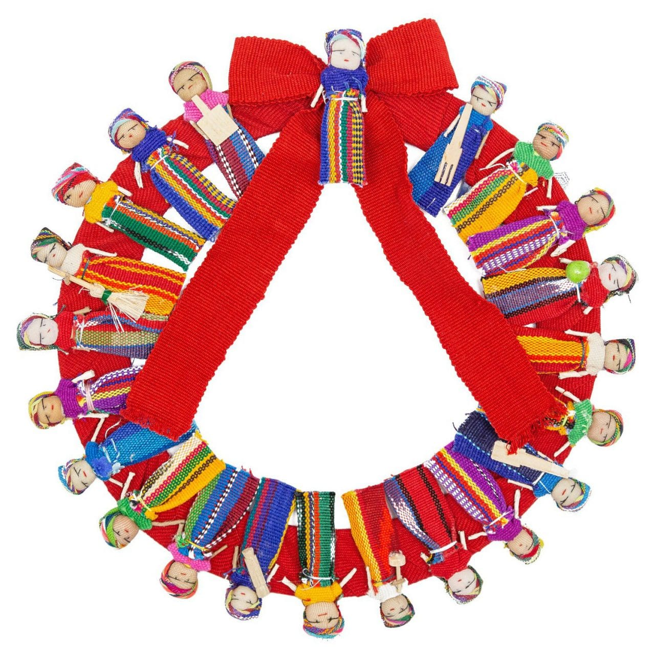 Medium Worry Doll Wreath with Bow