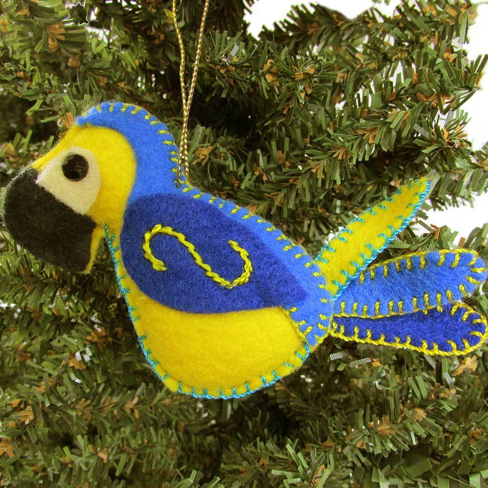 Felt Blue Parrot Ornament