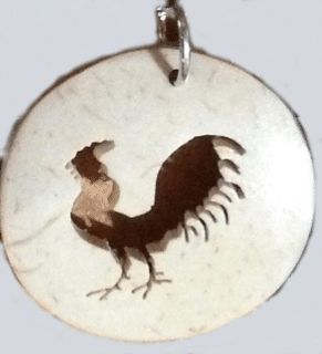 Rooster Coco Spirit Hand-Carved Coconut Shell Necklace