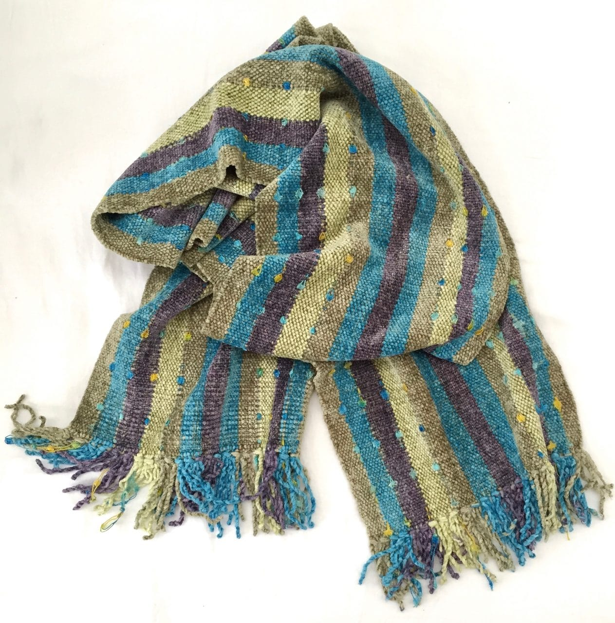 Olive, turquoise and lilac stripes with ornamental yarn accents - Bamboo Chenille Handwoven Scarf 8