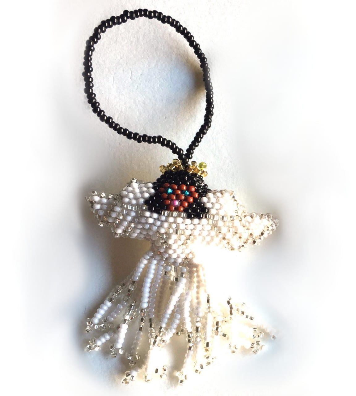 Angel of Color Beaded Ornament - with White Skirt