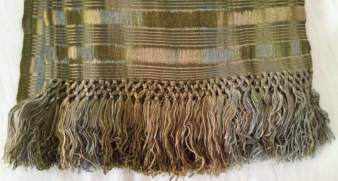Beige, Olive -  Lightweight Bamboo Open-Weave Handwoven Scarf 8 x 68