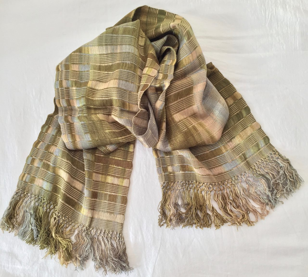 Beige, Olive -  Lightweight Bamboo Open-Weave Handwoven Scarf 8 x 68