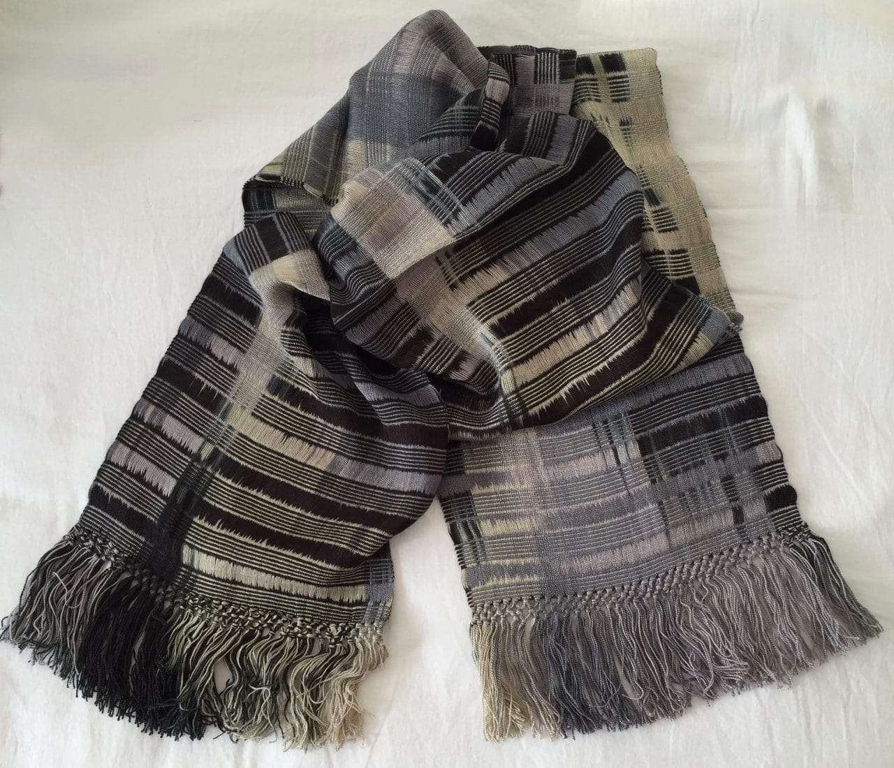 Black, Gray, Beige - Lightweight Bamboo Open-Weave Handwoven Scarf 8