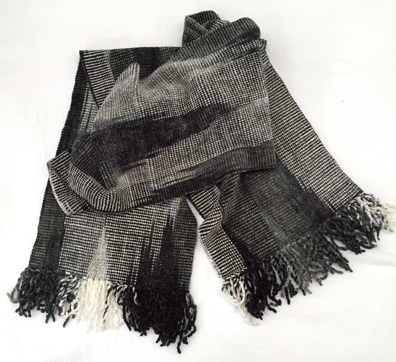 Black, White, Grays - Bamboo Chenille Handwoven Scarf 8 x 68