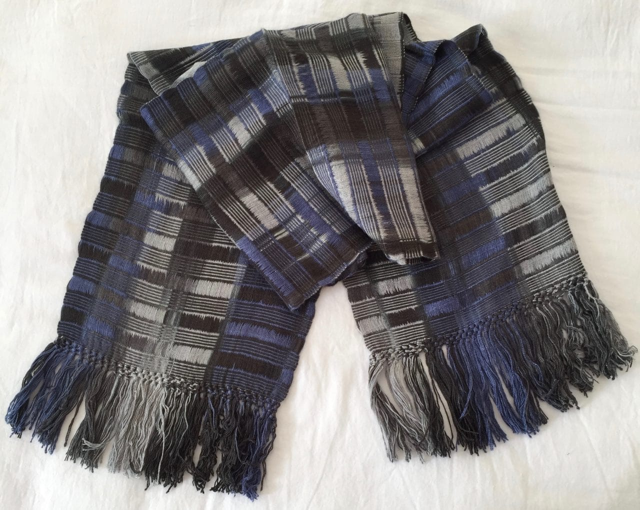 Blue, Grays, Black - Lightweight Bamboo Open-Weave Handwoven Scarf 8 x 68