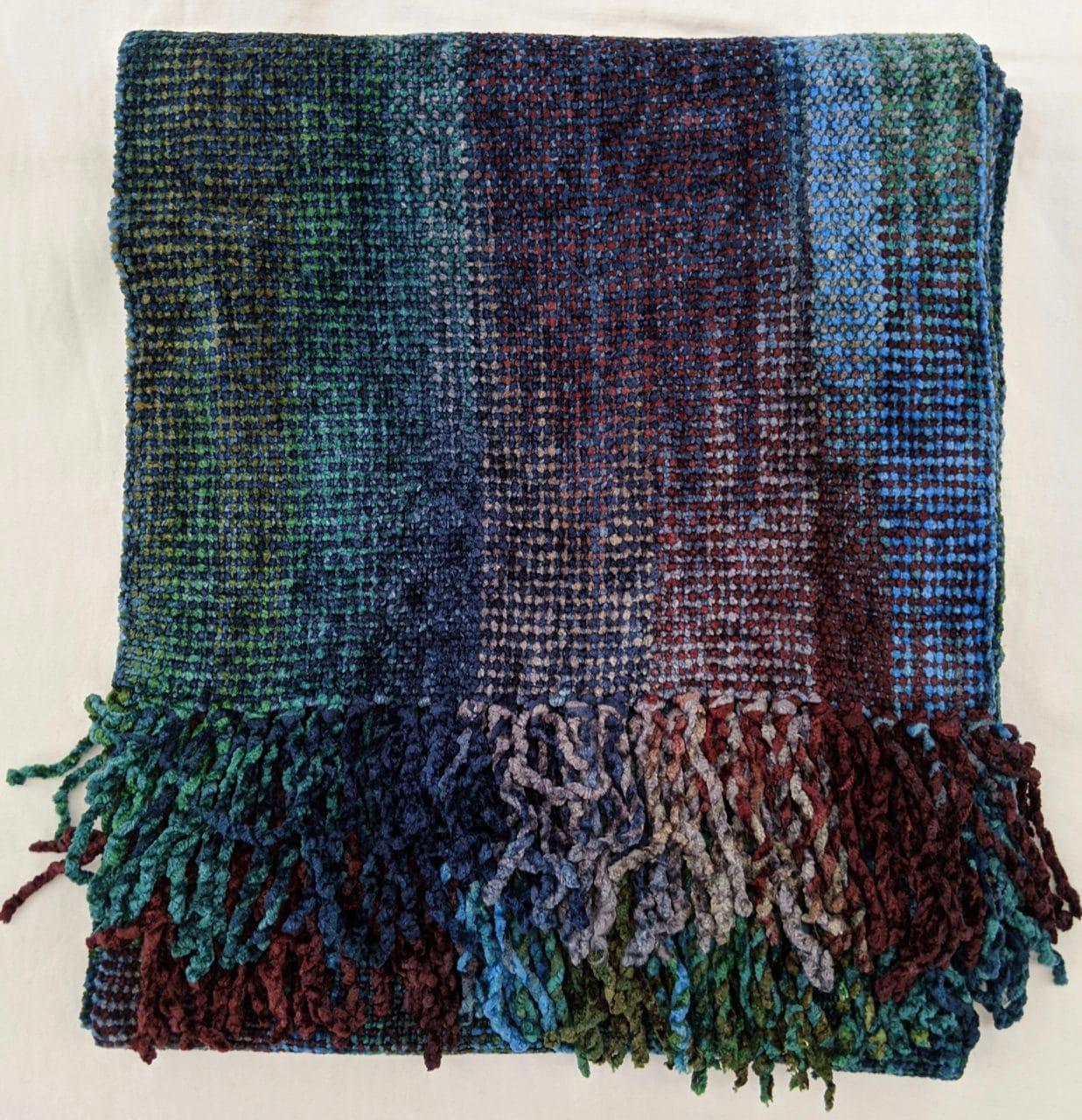 Blue, Green, Burgundy, Gray - Bamboo Chenille Handwoven Scarf 8 x 68