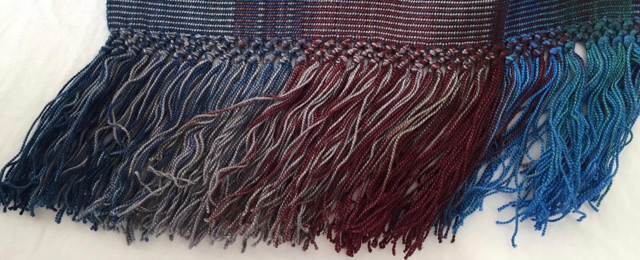 Blue, Green, Burgundy, Gray - Lightweight Bamboo Open-Weave Handwoven Scarf 8 x 68