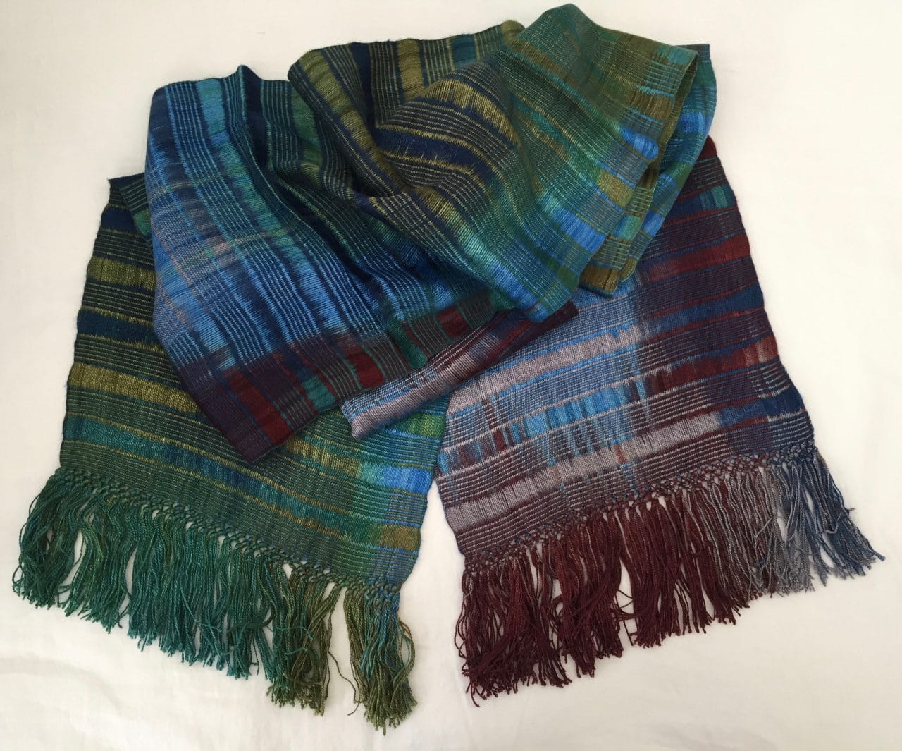 Blue, Green, Burgundy, Gray - Lightweight Bamboo Open-Weave Handwoven Scarf 8 x 68