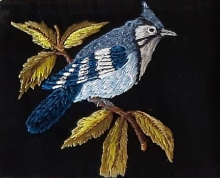 Blue Jay Thread Painted Cotton Coin Purse