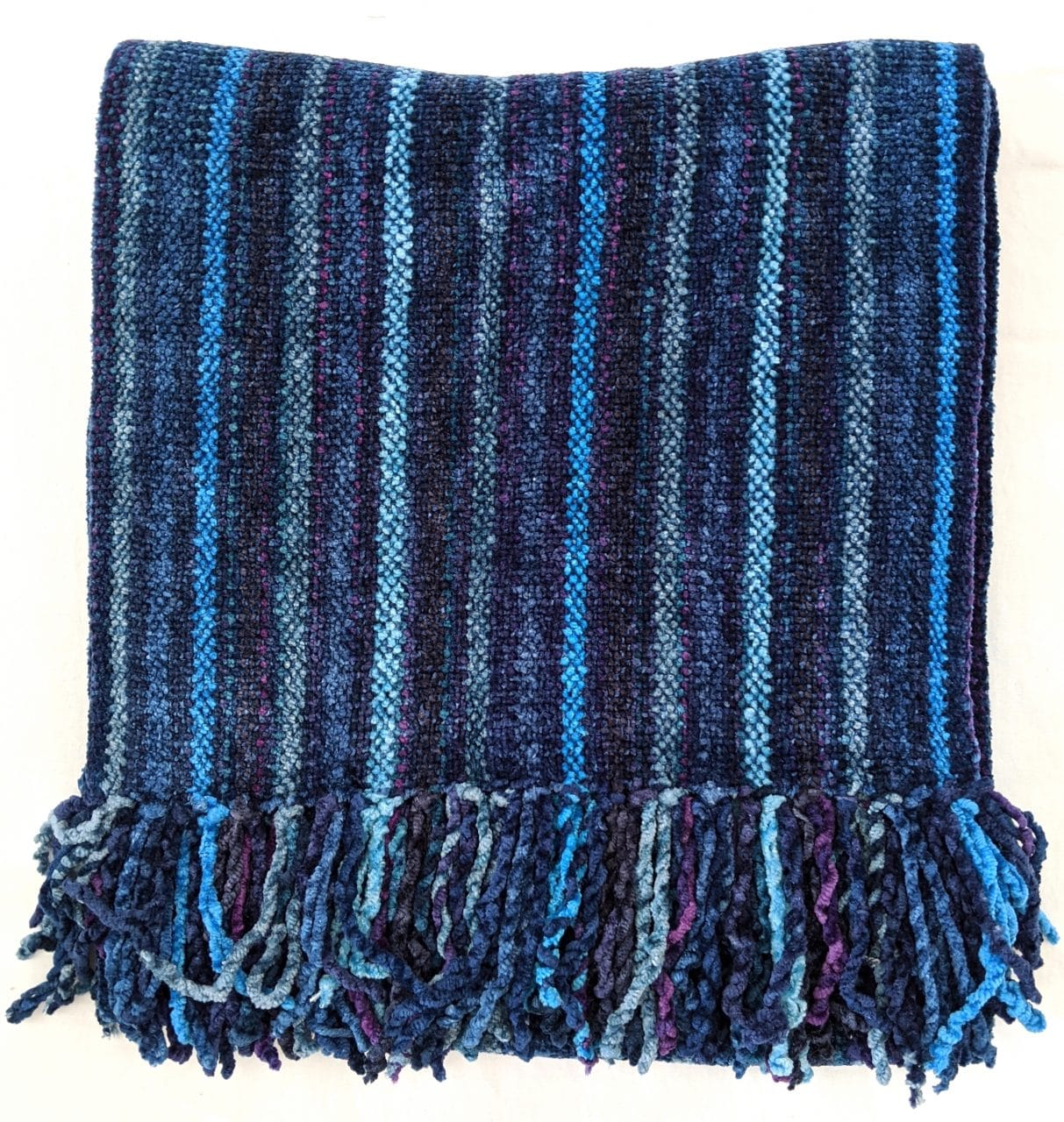 Blue Micro Stripes - Bamboo Chenille Handwoven Scarf 8 x 68