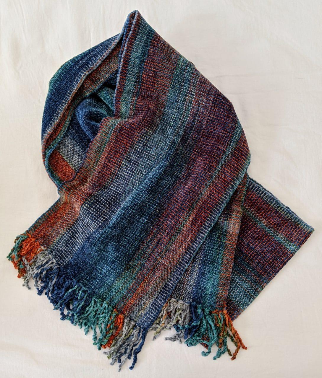Blue, Orange, Gray - Bamboo Chenille Handwoven Scarf 8 x 68