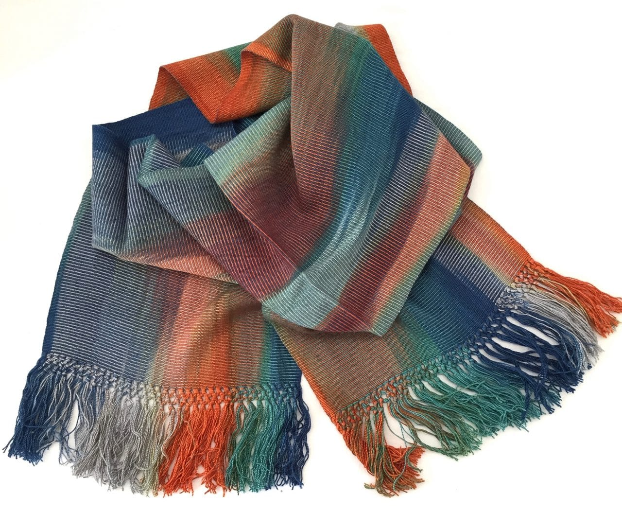 Blue, Orange, Gray - Lightweight Bamboo Handwoven Scarf 8 x 68