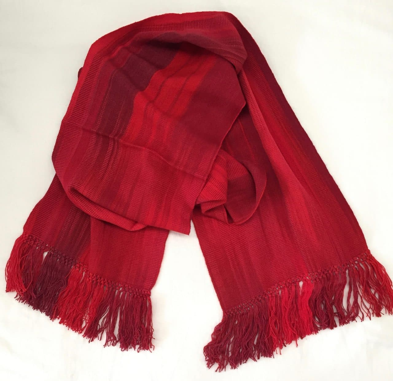 Reds (Bright!) - Lightweight Bamboo Handwoven Scarf 8 x 68