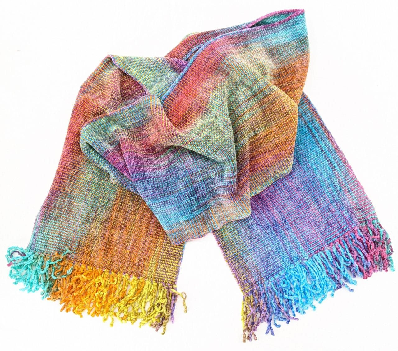 Brilliant Pastels - Bamboo Chenille Handwoven Scarf 8 x 68